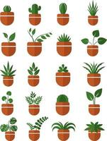 House plants in pots icon set vector