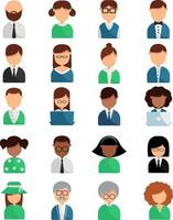 Different people, illustration, vector on white background icon set