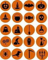 Happy Halloween, illustration, vector on white background icon set