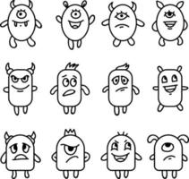 Emotional monsters expression icon set vector