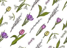 primavera de patrones sin fisuras con flores dibujadas a mano lirios del valle, sauce, tulipán, campanilla blanca, crocus - aislado. El patrón se puede utilizar para papel tapiz, fondo de página web, texturas superficiales. vector