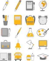 Back to school supplies icon set vector