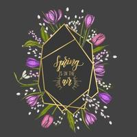 Spring frame with golden geometric diamond Shapes and hand drawn flowers - lilies of the valley, snowdrops, tulip, willow, crocus - on black. Gold frames for wedding, birthday invitations vector