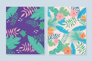Summer tropical leaves and flowers background set vector