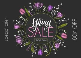 Spring Sale. Up to 80 special offer shop now. Card with hand drawn flowers-lilies of the valley, tulip, snowdrop, crocus. Hand made lettering vector