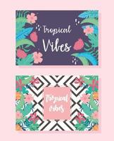 Natural and tropical vibes background set vector
