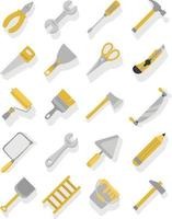 Carpenter tools yellow and grey icon set vector