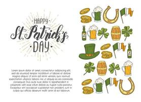 St Patrick's day Poster with Hand drawn icons. St. Patrick's hat, horseshoe, beer, barrel, irish flag, four-leaf clover and gold coins. Menu, banner, advertising.Lettering.Engraving vector