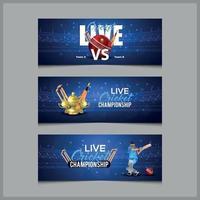 Banners de partidos de liga de campeonato de cricket con elementos de cricket vector