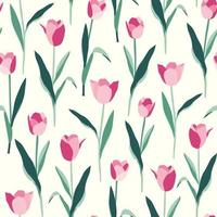 tulipanes, flores, seamless, patrón, blanco, plano de fondo