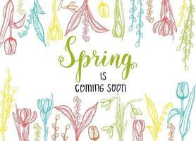 tarjeta de primavera con flores dibujadas a mano, lirios del valle, tulipán, sauce, campanilla blanca, azafrán - aislado en blanco. letras hechas a mano- la primavera llegará pronto vector