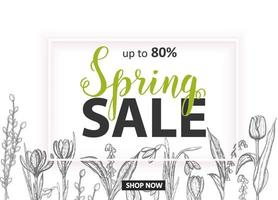 Spring Sale. Up to 80 Card with hand drawn flowers-lilies of the valley, tulip, snowdrop, crocus. Hand made lettering