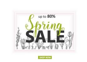 Spring Sale Up to 80 Card with hand drawn flowers-lilies of the valley, tulip, snowdrop, crocus. Hand made lettering