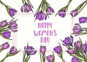 Happy Womens Day. background to the 8th of March Womens Day. Spring flowers hand drawn lilac and pink crocus. Vintage hand drawn set of crocus. vector
