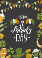 cartel del día de san patricio con st dibujado a mano. sombrero de patricio, herradura, cerveza, barril, bandera irlandesa, trébol de cuatro hojas y monedas de oro. letras. ilustraciones de grabado vector