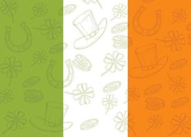 St Patrick's day Poster on irish flag. Hand drawn doodle St. Patrick's hat, horseshoe, four-leaf clover and gold coins. vector