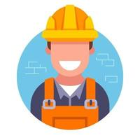 icon of a cute builder in a hard hat on a brick wall background. flat vector illustration.