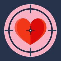 corazón rojo en un alcance de francotirador. vector