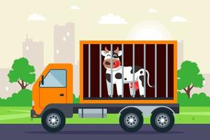 transportation of cattle by truck. cow in the cage. flat vector illustration.