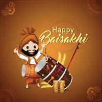 fondo de celebración de vaisakhi feliz festival sij vector