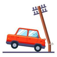 a passenger car crashed into an electric pole and broke it. road traffic accident. flat vector illustration.