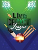 Plantilla de cricket creativa con equipo y luces. vector