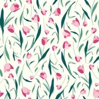 Tulips flowers and leaves seamless pattern on white background vector
