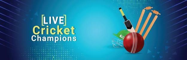 Cricket championship illustration with cricket equipment vector
