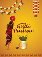feliz gudi padwa o cartel de celebración de ugadi o tarjeta de felicitación