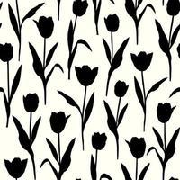 tulipanes, flores, silueta, seamless, patrón, blanco, plano de fondo