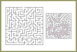 Maze for kids. Abstract square maze. Find the path to the gift. Game for kids. Puzzle for children. Labyrinth conundrum. Flat vector illustration isolated on white background. With answer