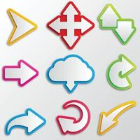 A set of arrows and pointers. Multicolored arrows stickers. vector