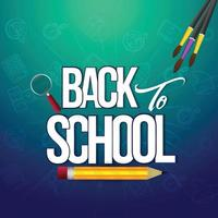 Creative background for back to school with school supplies vector
