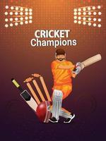 concepto de torneo de cricket con estadio y jugador vector