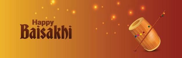 feliz celebración vaisakhi diseño de banner plano con tambor