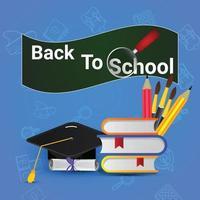 Back to school background with school equipment vector