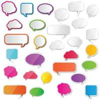 Collection blank empty white and color speech bubbles. vector