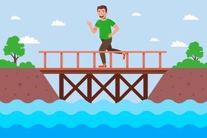 male runner crosses the river over a wooden bridge. flat vector illustration.