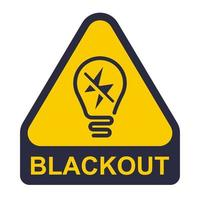 yellow blackout icon. power outage sticker. flat vector illustration
