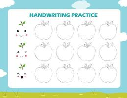 trazar las líneas con dibujos animados de manzana práctica de la escritura. vector