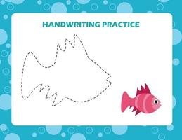 Trace the lines with cartoon fish. Writing skills practice. vector
