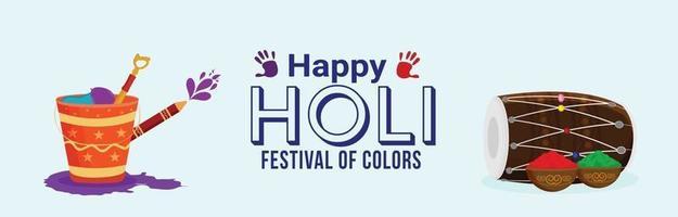 Holi festival drum flat design and illustration vector