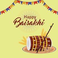 feliz celebración vaisakhi diseño plano con tambor