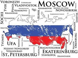Russia map with flag. List of cities with the largest population vector