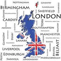 mapa de gran bretaña. bandera. el nombre de las ciudades más grandes. vector
