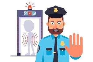 policía en la entrada del aeropuerto. prohibición de cruzar la frontera. ilustración vectorial plana. vector