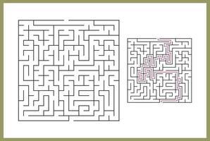 laberinto para niños. laberinto cuadrado abstracto. encuentra el camino hacia el regalo. juego para niños. rompecabezas para niños. enigma del laberinto. Ilustración de vector plano aislado sobre fondo blanco. con respuesta