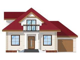 La fachada de la casa de ladrillos con balcón y cochera. Edificio de dos pisos sobre fondo blanco. vector