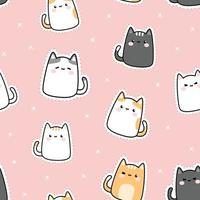 Cute chubby kitty cat cartoon doodle seamless pattern