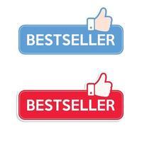 Mejor vendido. conjunto de iconos. banner de icono de pulgares arriba recomendado. vector